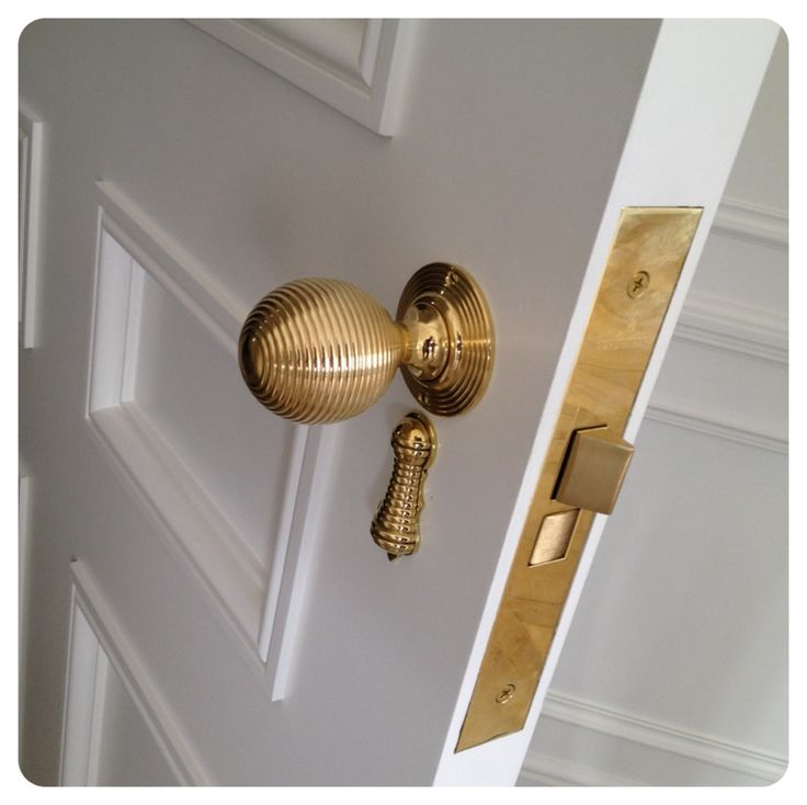 """This knob and rosette was turned out of solid brass and finished in un-lacquered brass. The lock box is 2"""" backset to allow our hardware to be centered on a narrow stile."""