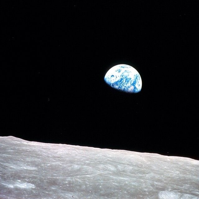 """Earthrise: This iconic photo was taken 45 years ago today by the crew of Apollo 8 as their spacecraft rounded the far side of the Moon. Astronauts Frank Borman, Jim Lovell and Bill Anders were the first humans to journey to the Moon and the first to photograph the Earth from deep space. At the end of a Christmas Eve television broadcast from lunar orbit, Borman signed off by saying """"...from the crew of Apollo 8, we close with good night, good luck, a Merry Christmas – and God bless all of…"""