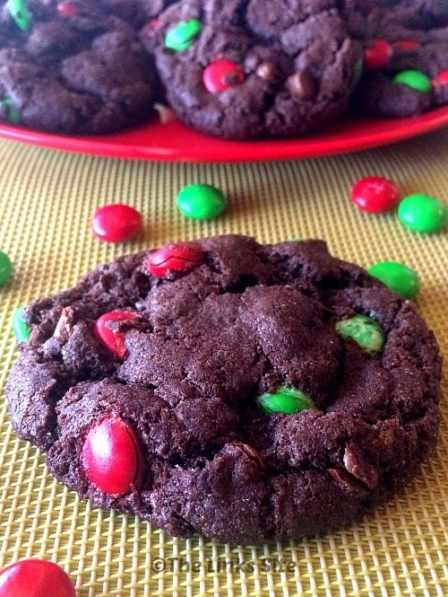 Christmas Cookie Recipe: these Chocolate Cake Mix Cookies are packed with choc chips as well as red and green M&M's! thelinkssite.com