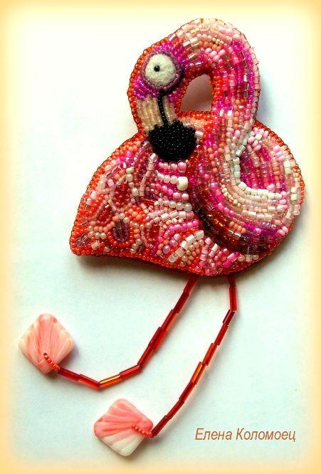 """Helen Kolomoets. Brooch """"Pink Flomingo."""" Bead embroidery and felting. Елена Коломоец. Брошь """"Розовый фламинго"""". Вышивка бисером и сухое валяние."""