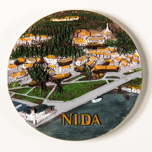 Resin Fridge Magnet: Lithuania. Curonian Spit. Nida View (Plate Shaped)