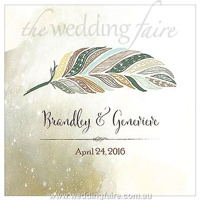 Feather Whimsy Personalised Clear Acrylic Block Cake Topper - Chocolate Brown - The Wedding Faire