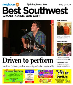 04/20: What's the connection between safe driving and being nominated for a Grammy? Ask singer-songwriter Gustavo Galindo.    http://www.neighborsgo.com/stories/82171: Singersongwrit Gustavo, Singers Songwriting Gustavo, 2012 Neighborsgo, Safe Driving, Gustavo Galindo, April 2012