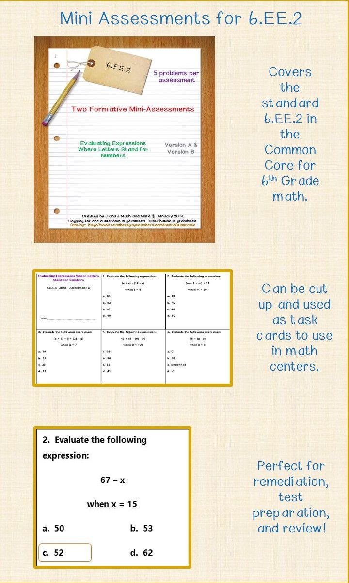 60 best Teaching Sixth Grade Math Assessments images on Pinterest ...