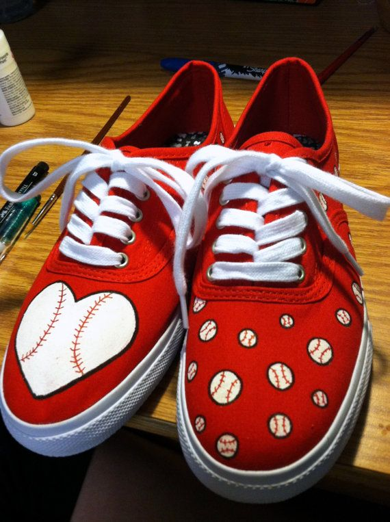 Baseball Inspired Shoes by HandPainted29 on Etsy, $35.00