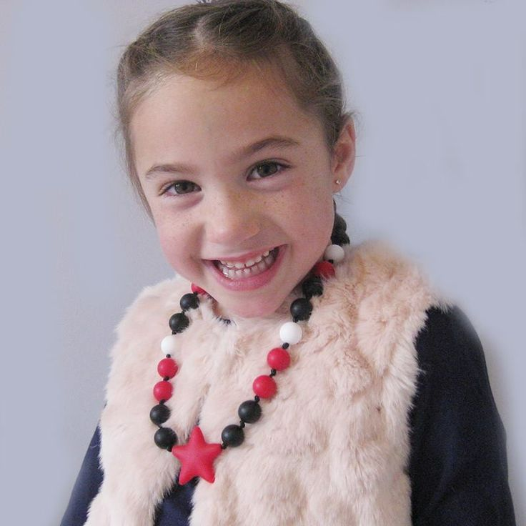 Chewlery isn't just for babies! Little girls love dressing up their outfits with their own silicone bead necklace! Check out our wide selection at www.bebeperla.com #christmasgift #babywearing #newmom #cybermonday