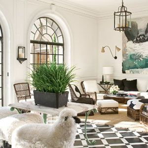 Waldo Fernandez-A bold painting and a capricious cluster of sheep - the Salle de Réception designed by Waldo Fernandez..