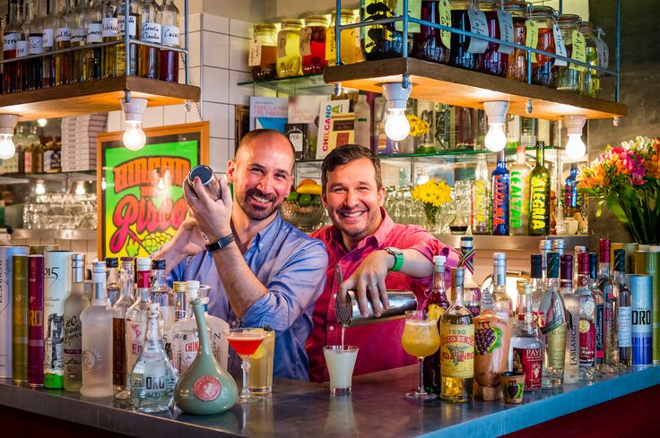 Martin and Miguel at Ceviche's Pisco Bar getting ready for Pisco Disco Weekender