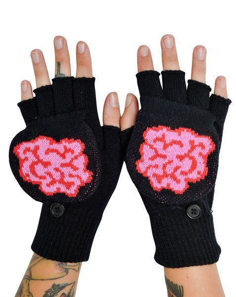 New Too Fast Brains Gloves Mittens Zombie Knit Skull Goth Punk Undead Monster #TooFastClothing #Mittens