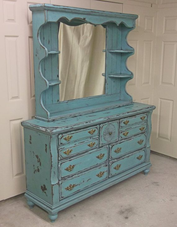 Shabby Aqua Painted Double Dresser with Mirror by royaloakcottage, $519.00