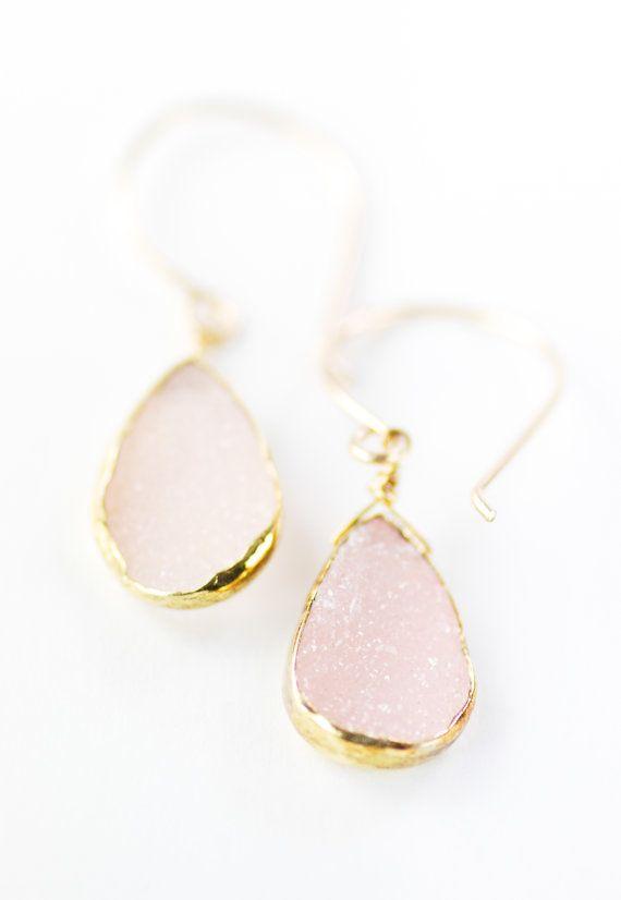 Kainehe earrings pink druzy gold earrings gold