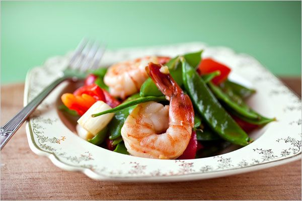 NYT Cooking: This is not unlike the shrimp with snow peas you get in many Cantonese restaurants. But there are more vegetables in this version.