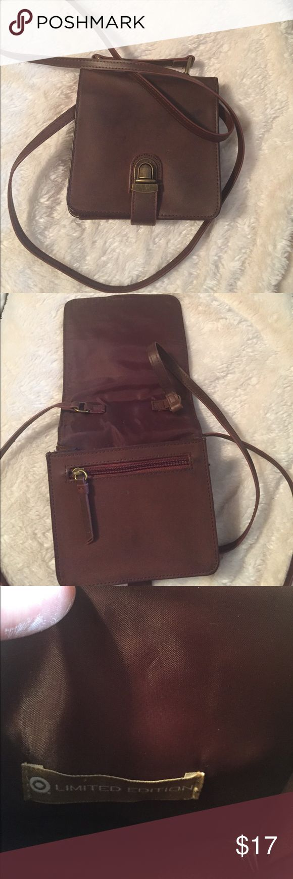 "TARGET purse. Target limited edition, faux leather, dark brown purse. Purse is 6""x6"" and non adjustable straps are 27"". Slight rip inside purse at right corner (see picture). Bags Mini Bags"