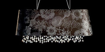 Marini suspension by Viso is a new collection that brings a touch of the mystery of the ocean coral to our interior decors; Marini features the coral print design by artist Fornasetti and re-launched by Luciano Marcato of Italy in a black or white fabric. The Marini shades feature a silver interior and Asfour crystals spheres which can be adjusted in height by a simple up or down pull, creating a unique and distinctive design. For more information on this Pendant Lamp visit the website.