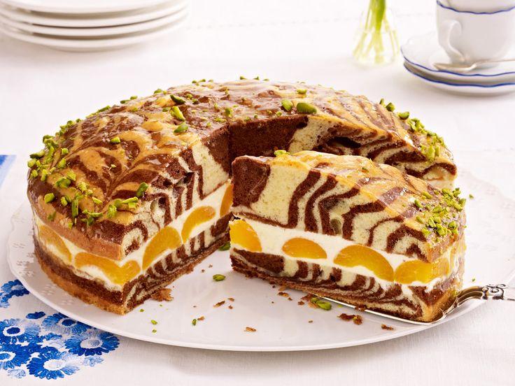 Zebrakuchen mit Aprikosen-Zitrus-Creme - so geht's - zebrakuchen  Rezept
