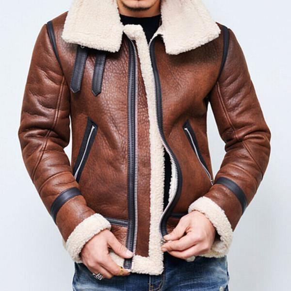 Men's Coats-Fleece Lining Suede Leather Jacket – cherryas | Faux leather jacket  men, Winter jacket men, Best winter jackets