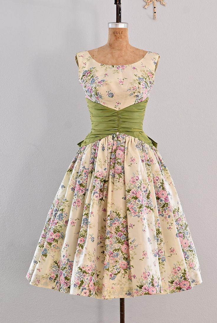 vintage 1950s dress party dress / floral print by PickledVintage