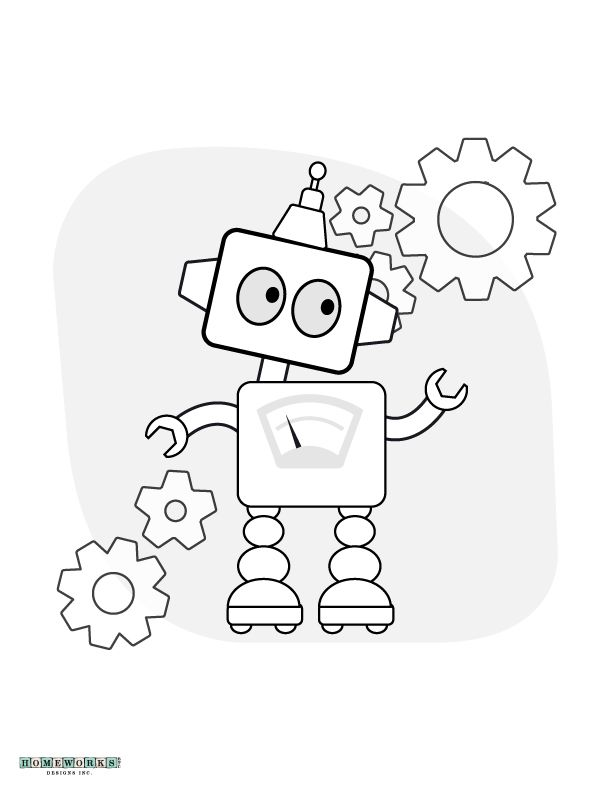 Robot Coloring Page Printable | Homeworks Etc #Coloringpages