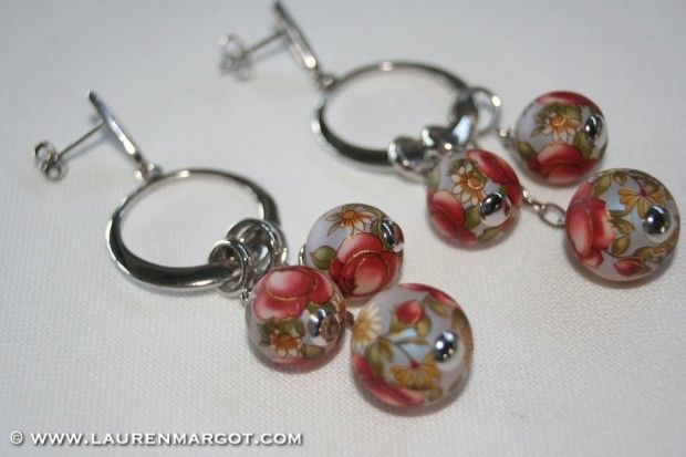 Beautiful Sterling Silver chandelier earrings with hand painted porcelain beads.