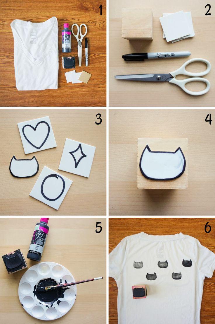 DIY: cat stamp t-shirt