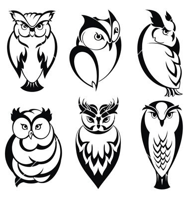 Isolated owl birds in tattoo style vector