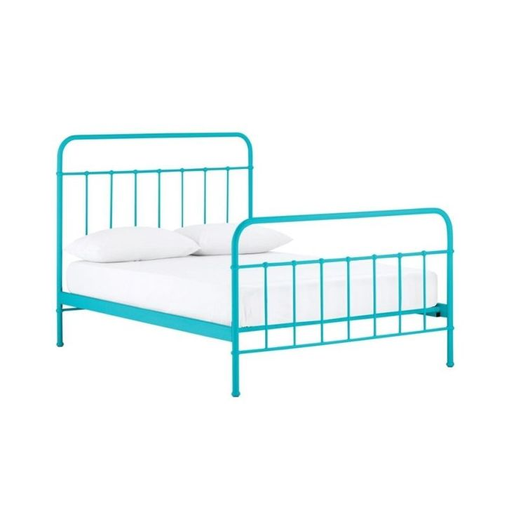 Jessica Queen Size Metal Bed Frame in Blue | Buy Queen Bed Frame