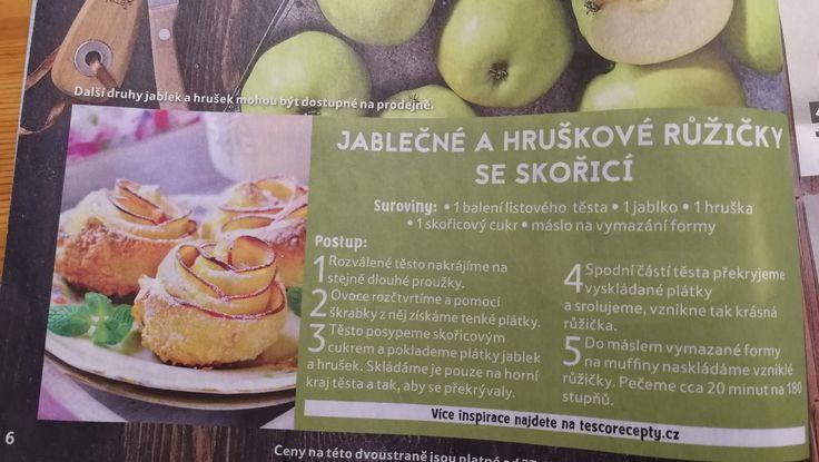 Hruškovo jablečné růžičky se skořicí