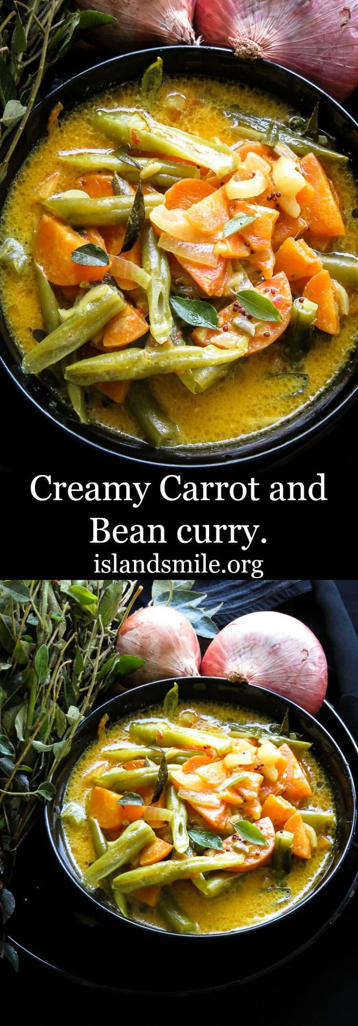 Creamy carrot and Bean curry, a mildly spiced recipe for kids to enjoy. a Vegan, vegetarian dish to try. #vegan #recipe #cooking #kids #srilankan #coconutmilk #curry #glutenfree #lowcarbre