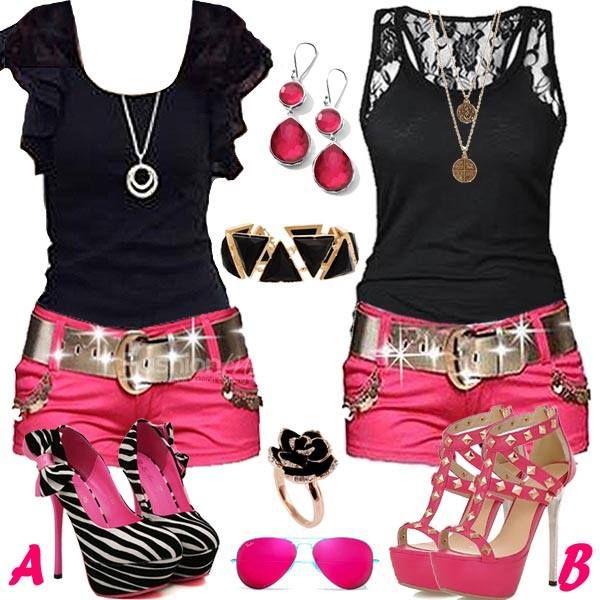 Pink n black dress and heels
