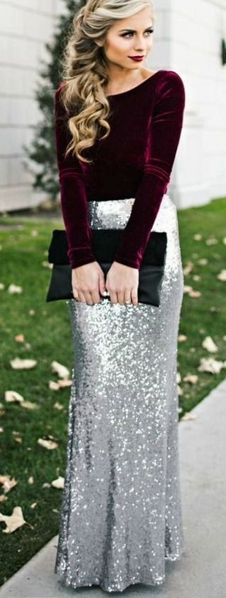 #lovelulus sequins long silver skirt with bordeaux shirt. black clutch. elegant.