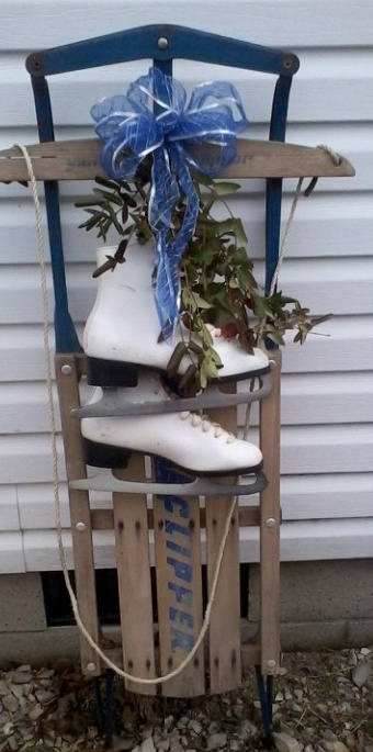 My childhood sled with thrift shop skates