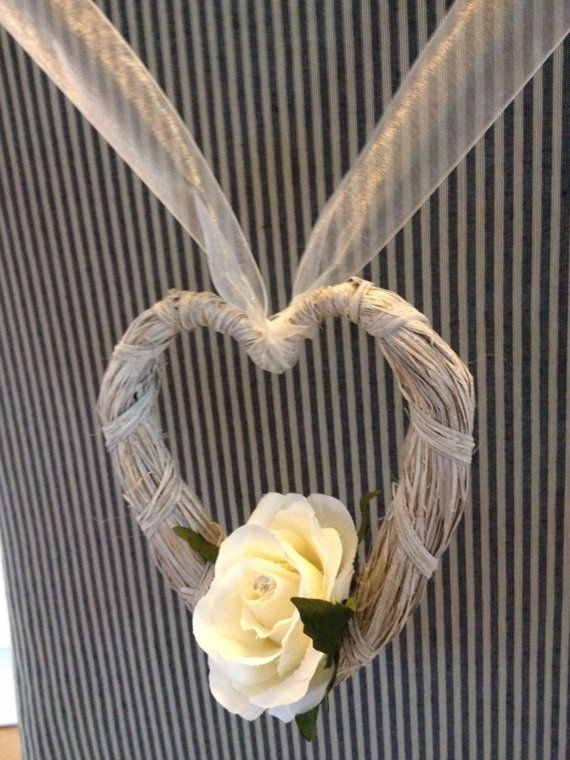 Wedding pew ends Rattan heart with an ivory by ARTIFICIALBOUQUETS