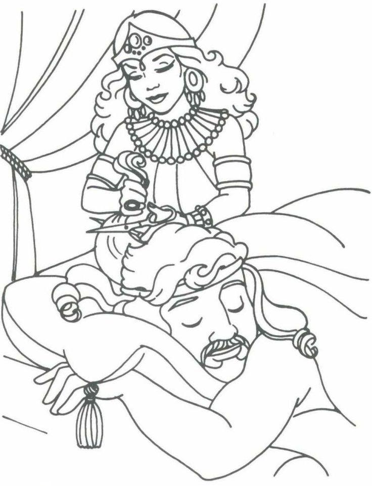 sansão resolveu contar a verdade á Dalila e assim que ele adormeceu Dalila raspou-lhe a cabeça