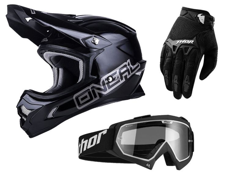 Oneal 3Series PLAIN black Motocross Helm + Thor Cross, Oneal 3Series PLAIN black…