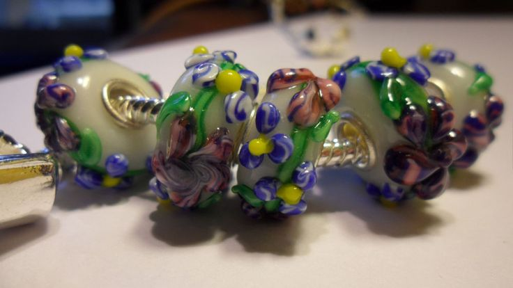 2 x Divine Flower Cluster European Charms Glass Bead with Blue flowers