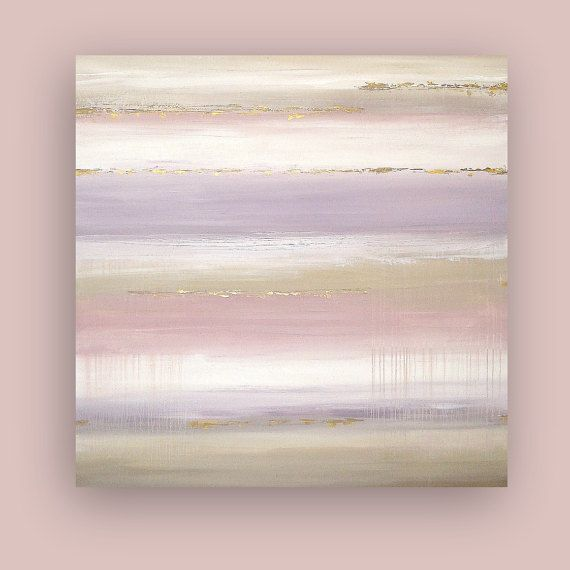 This is an original one of a kind acrylic abstract painting on gallery wrapped canvas with no visible staples by Ora Birenbaum. Very modern feel with soft tones of sand, white, cream, and taupe with the accent colors being soft dusty lavender and dusty light mauve. Simply elegant. This has beautiful metallic touches of pewter and gold as well. TITLE: Soft Heather DIMENSIONS: 48x48x1.5 (ready to ship out) MEDIUM: Acrylics on Gallery Canvas Dominant Colors: Dusty blues, white, gray, and…