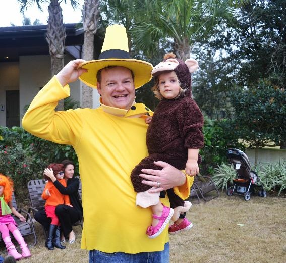 Award for cutest costume ever! #Nocatee Halloween Party Father and daughter enjoying the fun night. #CuriousGeorge