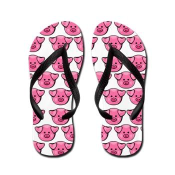 Sold: (more available) Cute Pink Pigs Flip Flops