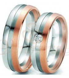 Βέρες γάμου τρίχρωμες με διαμάντι Breuning 6115-6116