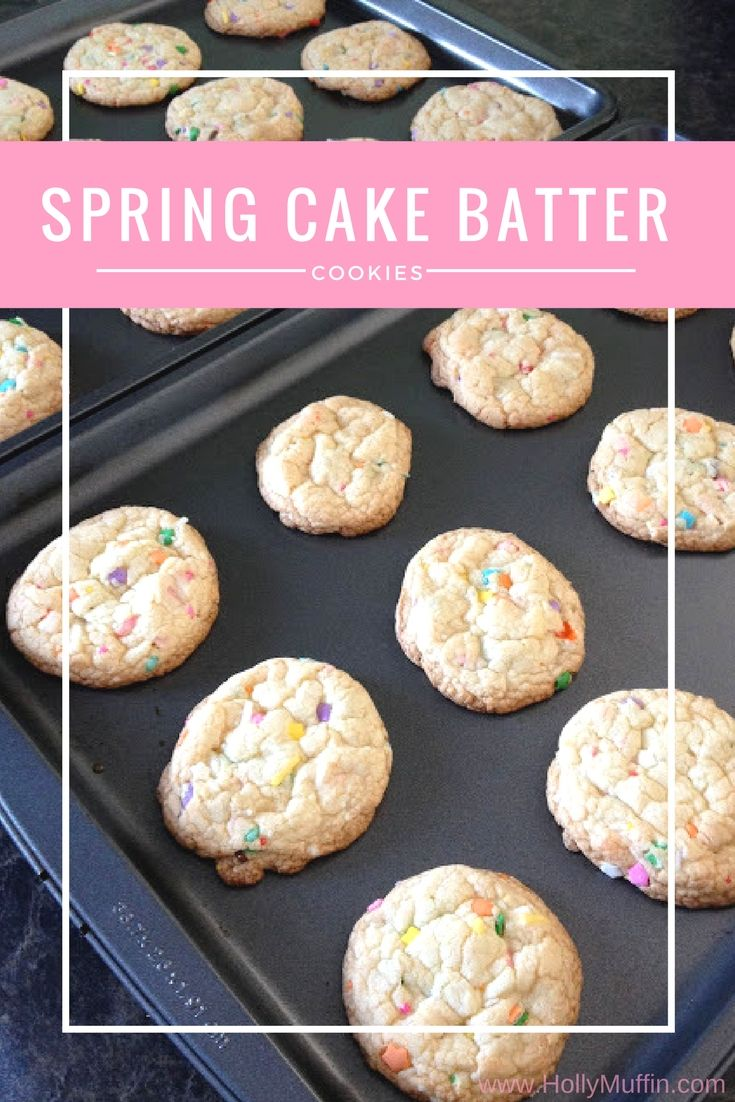 Spring Cake Batter Cookies - perfect for Easter (or any day at all!). So easy to make!