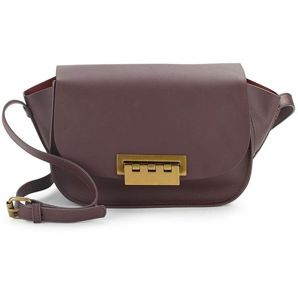 ZAC Zac Posen Eartha Saddle Bag ($100) ❤ liked on Polyvore featuring bags, handbags, shoulder bags, dark purple, brown leather purse, leather man bags, leather saddle bags, leather saddle bag purse and saddle bags