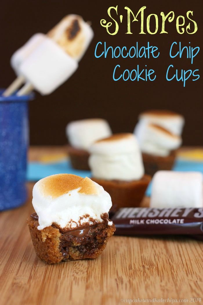 S'Mores Chocolate Chip Cookie Cups | cupcakesandkalechips.com | #glutenfree option #cupcakes #dessert