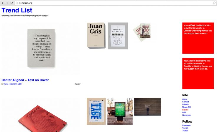 Een site waar de meest gebruikte/recente trends binnen grafisch ontwerp/vormgeving op verschijnen