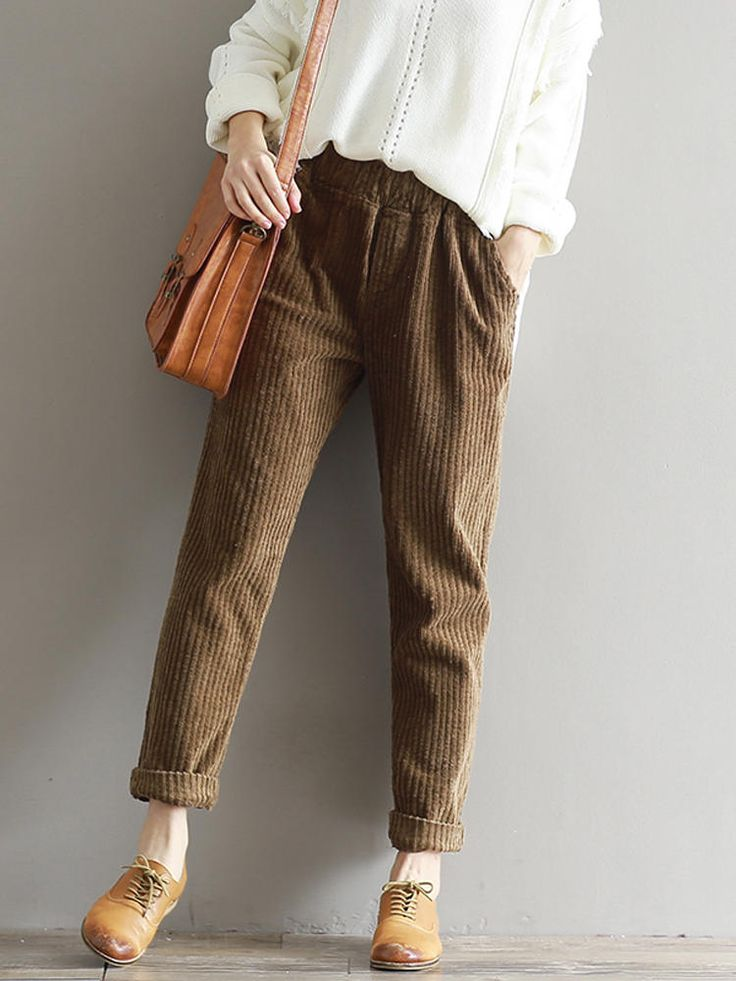 Casual Solid Color Elastic Waist Corduroy Pants at Banggood