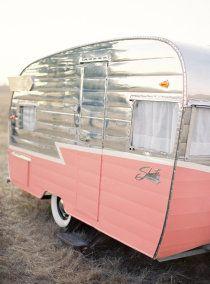pink & silver Shasta trailer