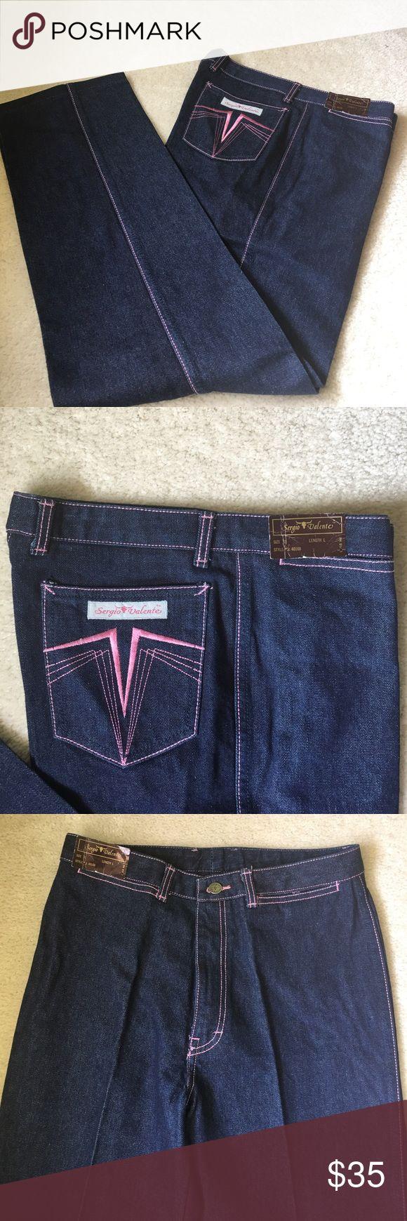 """Vintage Sergio Valente Jeans NWT- Vintage Sergio Valente Jeans - Indigo blue with pink stitching, waist approx 16"""", inseam 30"""", will fit 28/29"""" waist Sergio Valente Jeans Straight Leg"""