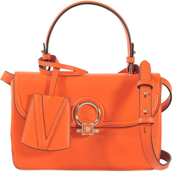 Versace The Dv1 Small Handbag & Crossbody ($1,869) ❤ liked on Polyvore featuring bags, handbags, shoulder bags, orange, handbag purse, purse shoulder bag, man bag, hand bags and orange shoulder bag