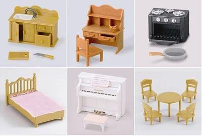 6 различных играть дома игрушки Sylvanian стол кровать фортепиано раковина WJ179 купить на AliExpress