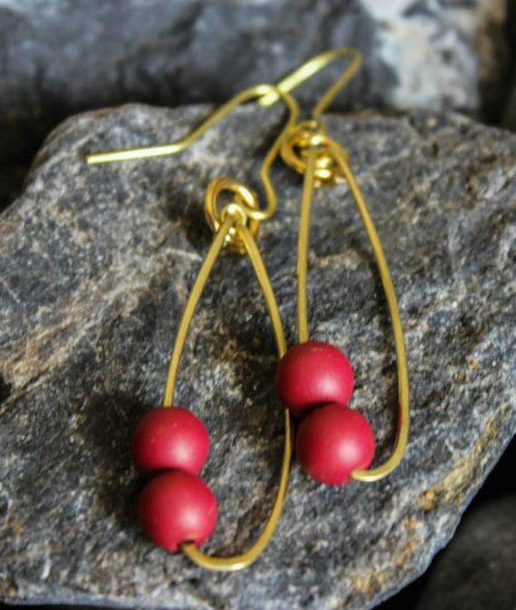 Handmade Brass Earrings/Red Beaded Earrings/Statement Jewelry/Artisan Handmade Brass Earrings/Greek Jewelry/Chic Jewelry/Gold Brass/Unique