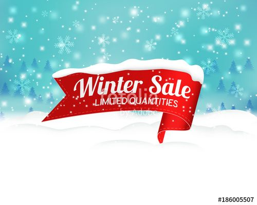 Вектор: Winter sale background with red realistic ribbon banner and snow. Vector illustration